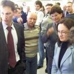 A. Поляков рассказывает Э. Набиуллиной о 3D системе.