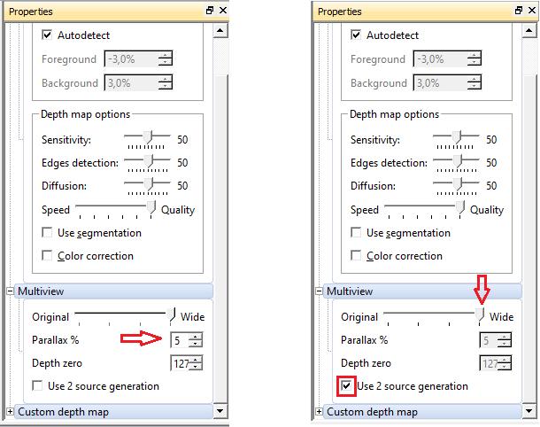 Рис. 9 Два метода генерации. Слева в режиме 2D+Depth, справа - режим по двум исходным кадрам.